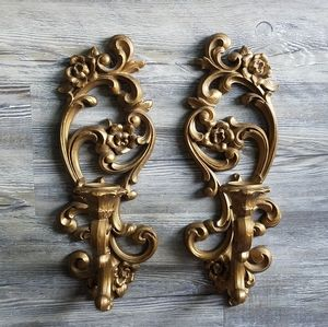 HOMECO | Vintage Pair Gold Rose Wall Sconces